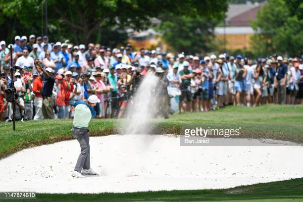 Jordan Spieth hits from the bunker on the second hole during the final round of the Charles Schwab Challenge at Colonial Country Club on May 26 2019...