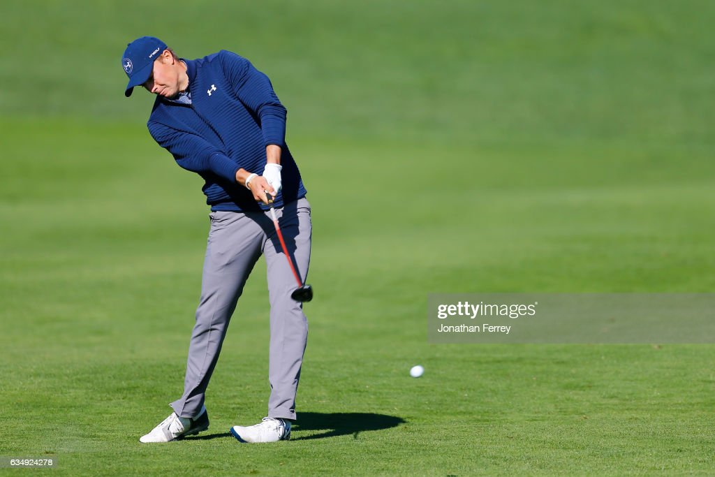 Jordan Spieth hits from the second hole fairway during the Final Round of the AT&T Pebble Beach Pro-Am at Pebble Beach Golf Links on February 12, 2017 in Pebble Beach, California.