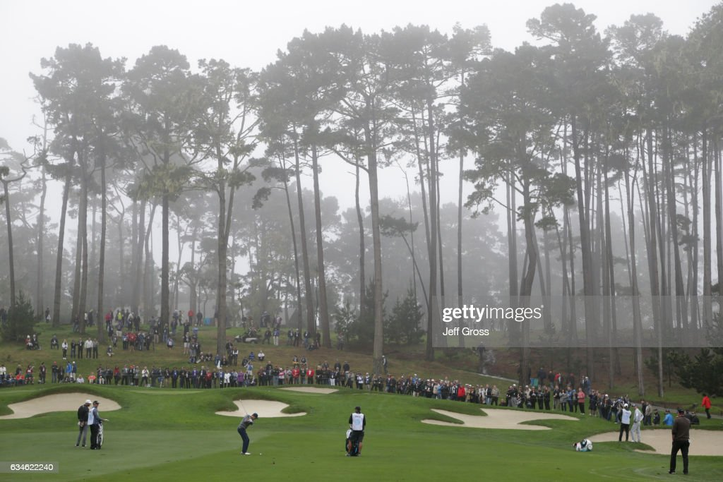 Jordan Spieth hits his approach shot on the 17th hole during Round Two of the AT&T Pebble Beach Pro-Am at Spyglass Hill Golf Course on February 10, 2017 in Pebble Beach, California.