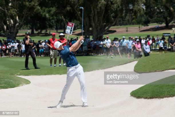 Jordan Spieth hits his bunker shot at the final round of the 102nd Australian Open Golf Championship at The Australian Golf Club in Sydney on...