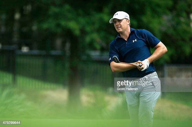 Jordan Spieth hits his second shot on the third hole during Round Three of the ATT Byron Nelson at the TPC Four Seasons Resort Las Colinas on May 30...