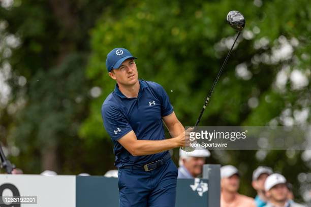 Jordan Spieth hits his tee shot on during the final round of the Charles Schwab Challenge on May 30, 2021 at Colonial Country Club in Fort Worth, TX.