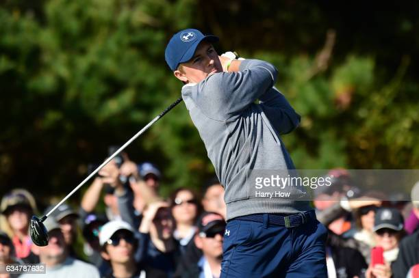 Jordan Spieth hits his tee shot on the 11th hole during Round Three of the ATT Pebble Beach ProAm at Pebble Beach Golf Links on February 11 2017 in...