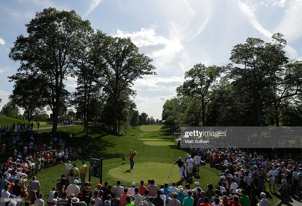 Jordan Spieth hits his tee shot on the 15th hole during the second round of The Memorial Tournament at Muirfield Village Golf Club on June 3, 2016 in Dublin, Ohio.
