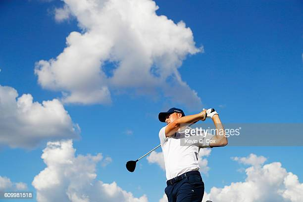 Jordan Spieth hits his tee shot on the 16th hole during the second round of the TOUR Championship at East Lake Golf Club on September 23 2016 in...