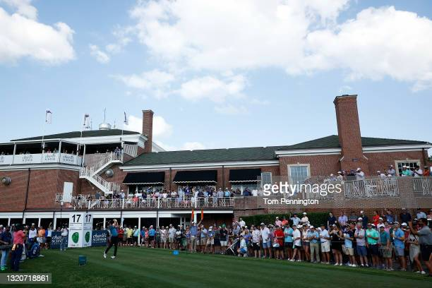 Jordan Spieth hits his tee shot on the 17th hole during the third round of the Charles Schwab Challenge at Colonial Country Club on May 29, 2021 in...