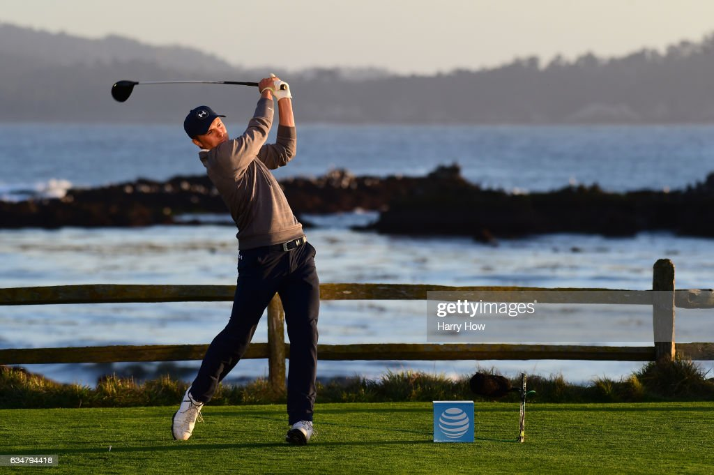 Jordan Spieth hits his tee shot on the 18th hole during Round Three of the AT&T Pebble Beach Pro-Am at Pebble Beach Golf Links on February 11, 2017 in Pebble Beach, California.