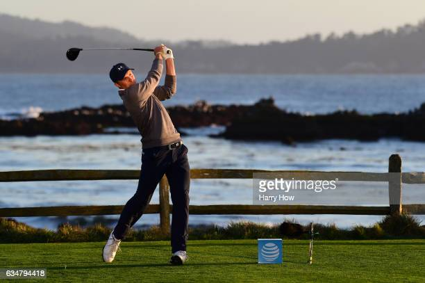 Jordan Spieth hits his tee shot on the 18th hole during Round Three of the ATT Pebble Beach ProAm at Pebble Beach Golf Links on February 11 2017 in...