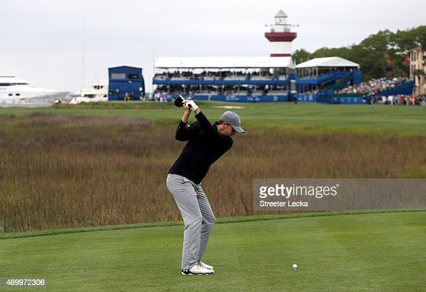 Jordan Spieth hits his tee shot on the 18th hole during the first round of the RBC Heritage at Harbour Town Golf Links on April 16 2015 in Hilton...