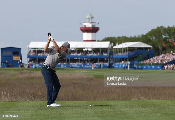 Jordan Spieth hits his tee shot on the 18th hole during the third round of the RBC Heritage at Harbour Town Golf Links on April 18 2015 in Hilton...