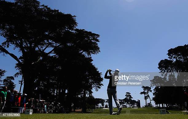Jordan Spieth hits his tee shot on the ninth hole during round one of the World Golf Championship Cadillac Match Play at TPC Harding Park on April...