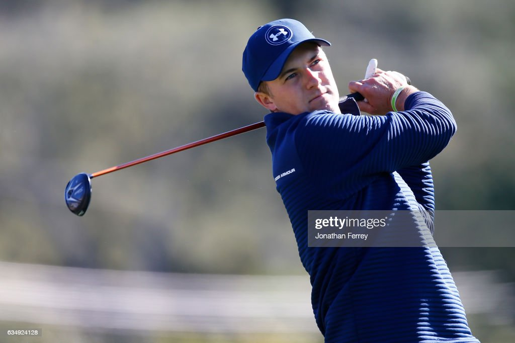 Jordan Spieth hits his tee shot on the third hole during the Final Round of the AT&T Pebble Beach Pro-Am at Pebble Beach Golf Links on February 12, 2017 in Pebble Beach, California.
