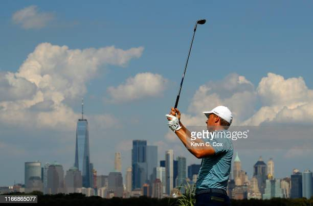 Jordan Spieth hits off the 14th tee during the first round of The Northern Trust at Liberty National Golf Club on August 08, 2019 in Jersey City, New...