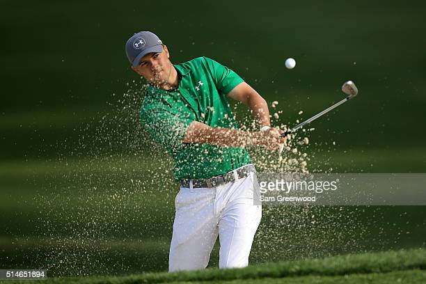 Jordan Spieth hits out of a bunker on the 11th hole during the first round of the Valspar Championship at Innisbrook Resort Copperhead Course on...