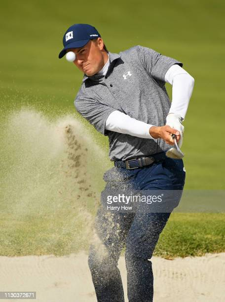 Jordan Spieth hits out of the bunker on the 10th hole during the final round of the Genesis Open at Riviera Country Club on February 17 2019 in...