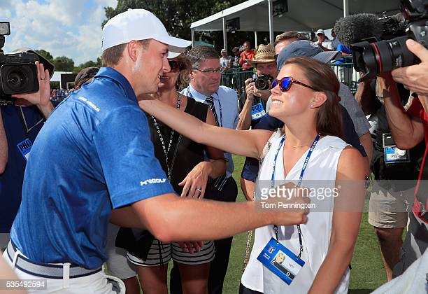Jordan Spieth hugs his girlfriend Annie Verret after winning the DEAN DELUCA Invitational at Colonial Country Club on May 29 2016 in Fort Worth Texas