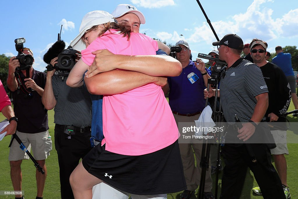 Jordan Spieth hugs his sister, Ellie Spieth, after winning the DEAN & DELUCA Invitational at Colonial Country Club on May 29, 2016 in Fort Worth, Texas.