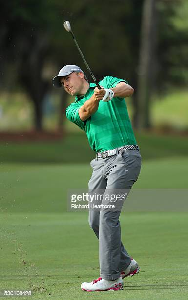 Jordan Spieth in action during a practise round for THE PLAYERS Championship on The Stadium Course at TPC Sawgrass on May 10, 2016 in Ponte Vedra...