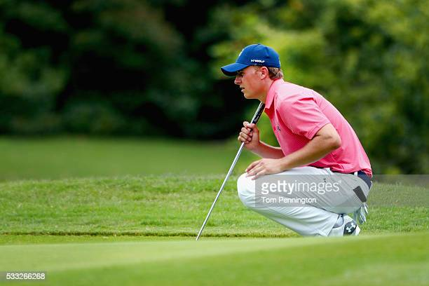 Jordan Spieth lines up a birdie putt on the ninth hole during Round Three at the AT&T Byron Nelson on May 21, 2016 in Irving, Texas.
