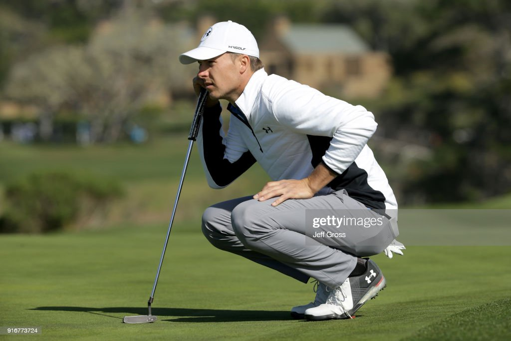 Jordan Spieth lines up a putt on the sixth green during Round Three of the AT&T Pebble Beach Pro-Am at Pebble Beach Golf Links on February 10, 2018 in Pebble Beach, California.