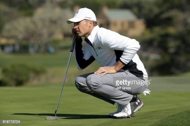 Jordan Spieth lines up a putt on the sixth green during Round Three of the ATT Pebble Beach ProAm at Pebble Beach Golf Links on February 10 2018 in...