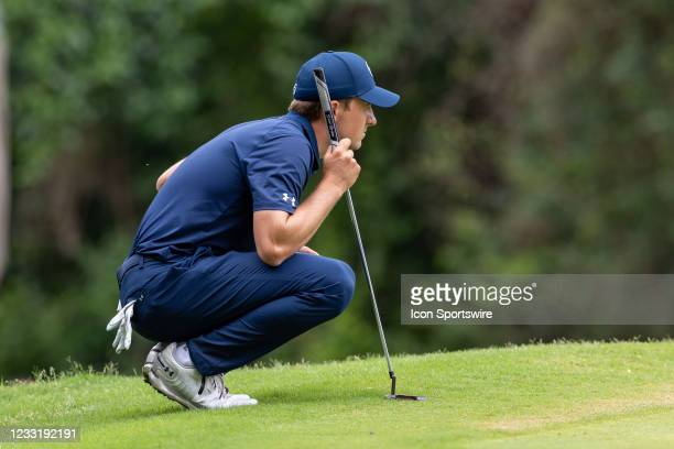 Jordan Spieth lines up his putt on during the final round of the Charles Schwab Challenge on May 30, 2021 at Colonial Country Club in Fort Worth, TX.
