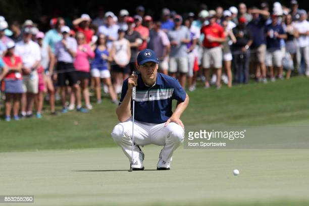 Jordan Spieth lines up putt on the 7th green during the final round of the PGA Tour Championship on September 24 2017 at East Lake Golf Club in...