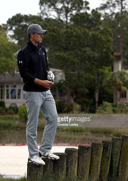 Jordan Spieth looks around on the 17th hole during the first round of the RBC Heritage at Harbour Town Golf Links on April 16 2015 in Hilton Head...