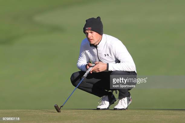 Jordan Spieth looks at his line while on the green during the second round of the Valspar Championship on March 09 at Westin InnisbrookCopperhead...