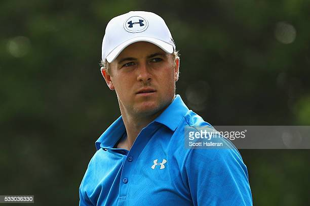 Jordan Spieth looks on from the 12th tee during Round Two at the AT&T Byron Nelson on May 20, 2016 in Irving, Texas.