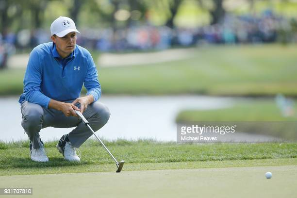 Jordan Spieth looks over a putt on the second green during the first round of the Valspar Championship at Innisbrook Resort Copperhead Course on...