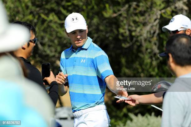 Jordan Spieth meets with fans during the ProAm of the Genesis Open at the Riviera Country Club on February 14 2018 in Pacific Palisades California