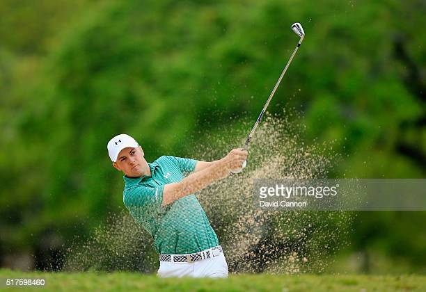 Jordan Spieth of the United plays a fairway bunker shot on the sixth hole during the round of 16 in the World Golf Championships-Dell Match Play at...