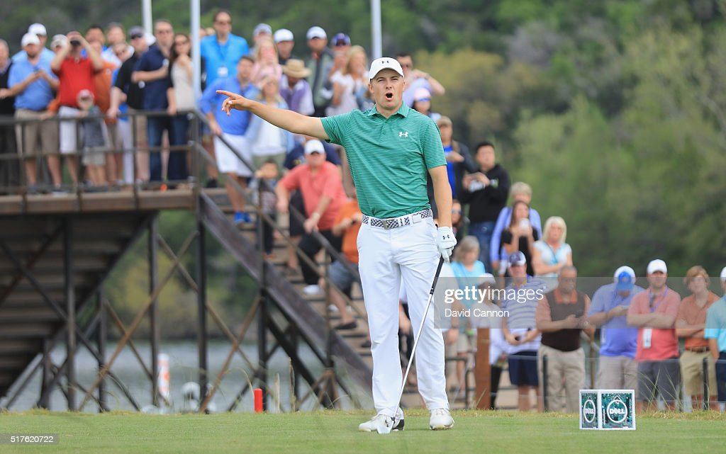 Jordan Spieth of the United reacts to his tee shot on the 13th hole during the round of 16 in the World Golf Championships-Dell Match Play at the Austin Country Club on March 26, 2016 in Austin, Texas.