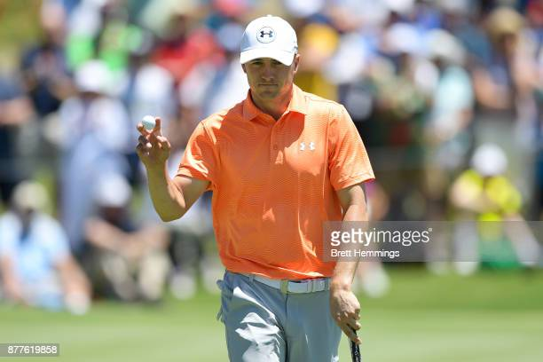 Jordan Spieth of the United States acknowledges the crowd after a birdie on the 4th hole during day one of the 2017 Australia Golf Open at The...