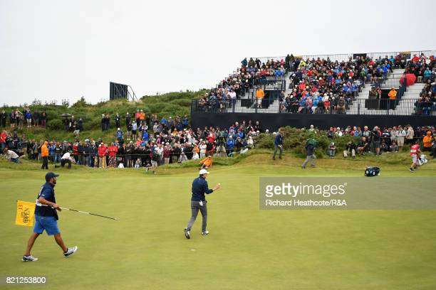 Jordan Spieth of the United States acknowledges the crowd on the 13th hole during the final round of the 146th Open Championship at Royal Birkdale on...