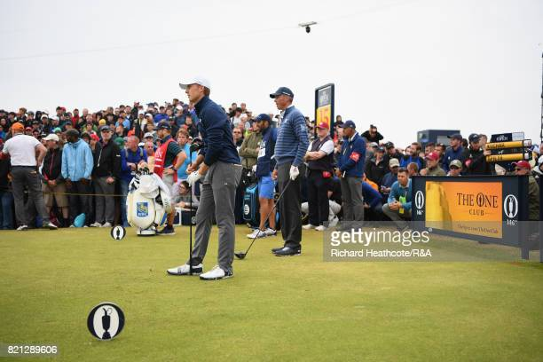 Jordan Spieth of the United States an Matt Kuchar of the United States look down the 15th hole during the final round of the 146th Open Championship...