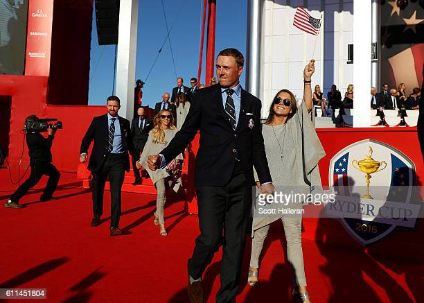Jordan Spieth of the United States and Annie Verret attend the 2016 Ryder Cup Opening Ceremony at Hazeltine National Golf Club on September 29 2016...