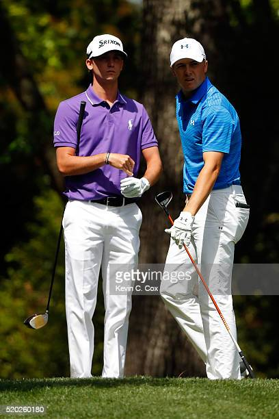 Jordan Spieth of the United States and Daniel Berger of the United States stand on the second tee during the final round of the 2016 Masters...