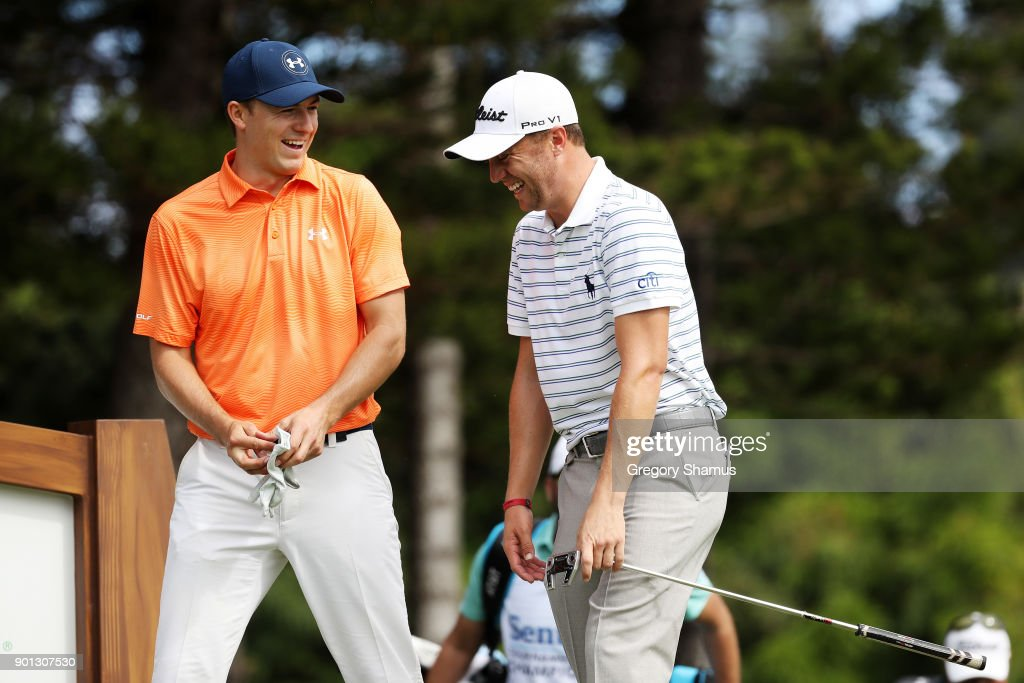 Jordan Spieth of the United States and Justin Thomas of the United States walk to the second tee during the first round of the Sentry Tournament of Champions at Plantation Course at Kapalua Golf Club on January 4, 2018 in Lahaina, Hawaii.