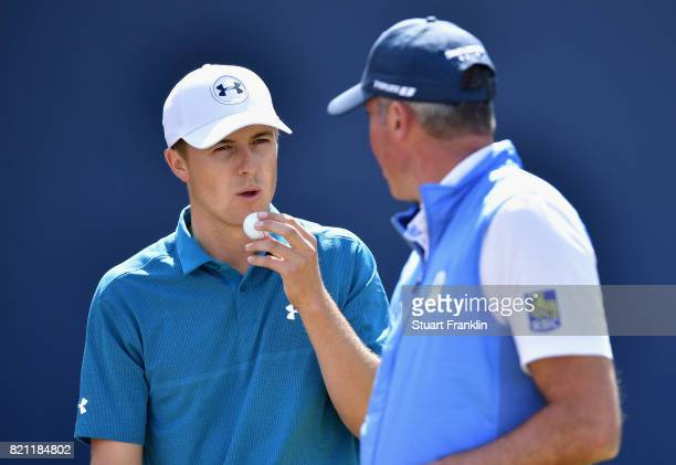 Jordan Spieth of the United States and Matt Kuchar of the United States on the 1st tee during the final round of the 146th Open Championship at Royal...