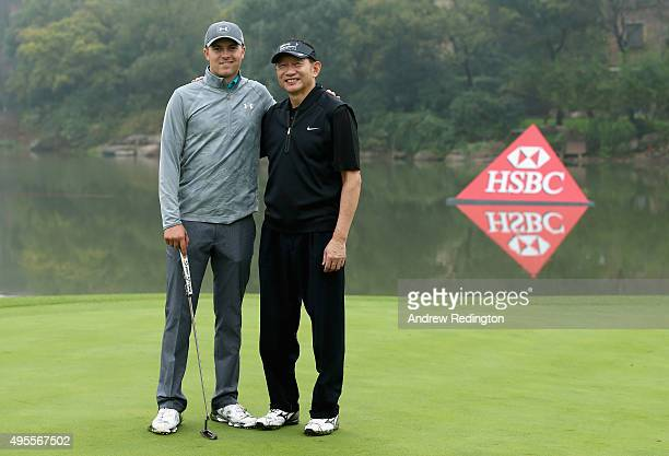 Jordan Spieth of the United States and Peter Wong Deputy Chairman and Chief Executive HSBC are pictured together during the Pro Am event prior to the...