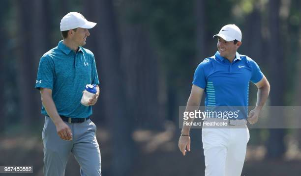 Jordan Spieth of the United States and Rory McIlroy of Northern Ireland walk on the tenth hole during the second round of THE PLAYERS Championship on...