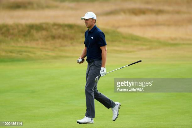 Jordan Spieth of the United States at the 14th hole green while practicing during previews to the 147th Open Championship at Carnoustie Golf Club on...