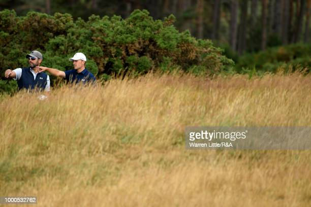 Jordan Spieth of the United States at the 14th hole while practicing during previews to the 147th Open Championship at Carnoustie Golf Club on July...