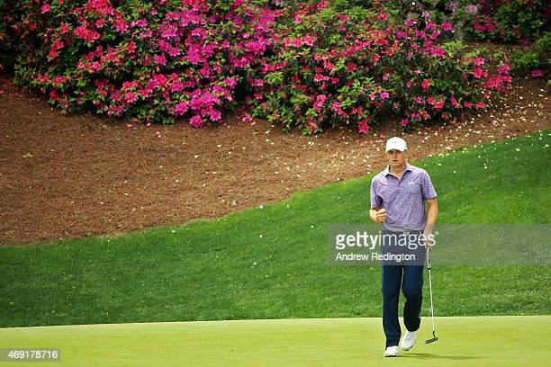 Jordan Spieth of the United States celebrates a birdie on the 13th green during the second round of the 2015 Masters Tournament at Augusta National...