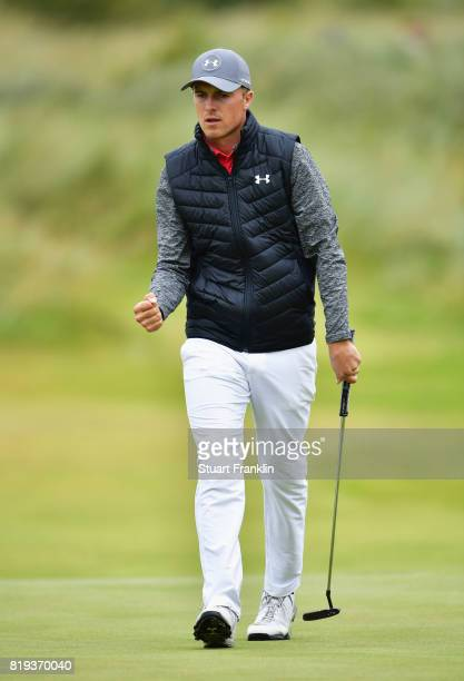 Jordan Spieth of the United States celebrates a birdie on the 14th hole during the first round of the 146th Open Championship at Royal Birkdale on...