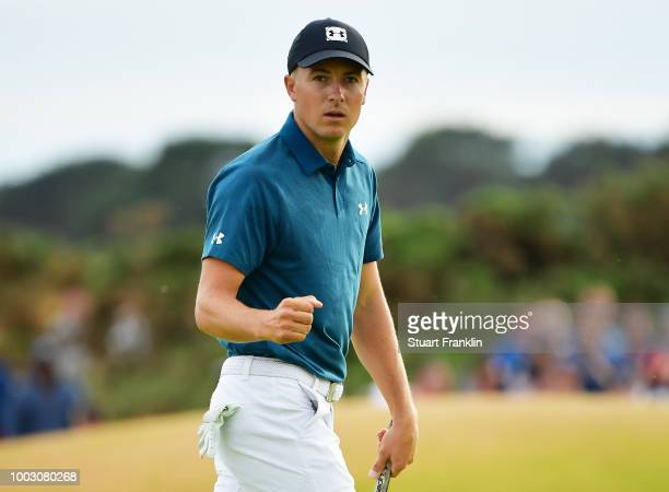 Jordan Spieth of the United States celebrates a birdie on the 16th green during the third round of the 147th Open Championship at Carnoustie Golf...