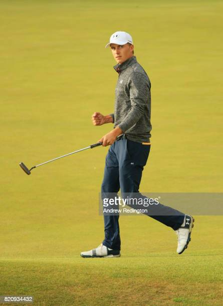 Jordan Spieth of the United States celebrates a birdie on the 18th green during the third round of the 146th Open Championship at Royal Birkdale on...