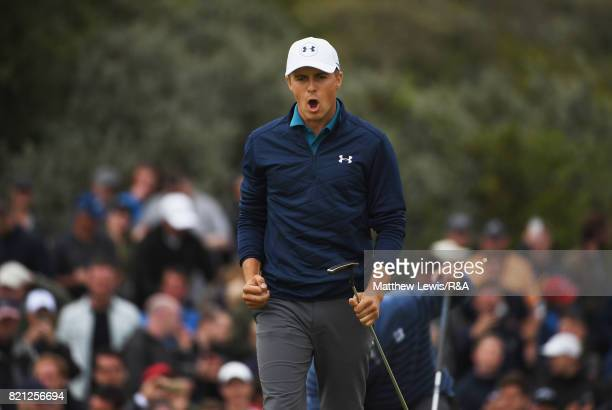 Jordan Spieth of the United States celebrates a birdie putt on the 16th hole during the final round of the 146th Open Championship at Royal Birkdale...